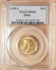 1918-I India Gold Sovereign, PCGS MS63, Nice Lustrous Coin