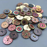 50pcs Mixed Random Retro Vintage 2 Holes Wooden Buttons for Sewing Crafting DIY