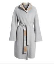 $680 DONNA KARAN New York WOOL BLEND WRAP COAT HEATHER GREY BELTED 4 (S)