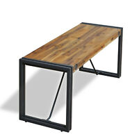 Cosima Wooden Dining Bench Rustic Acacia Solid Wood Black Metal Legs Modern Home