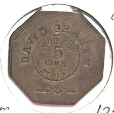 Token David Graham Hawthorne Nevada Good for 5c Bar Brass Octagon Incused 27mm