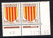 FRANCE COIN DATE BLOC DE 2 TIMBRE NEUF N° 1046 ROUSSILLON