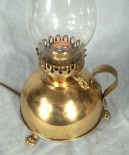 MID CENTURY BRASS OIL STYLE FINGER LOOP LAMP ON CLAW FEET