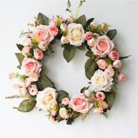 KQ_ Artificial Rose Flower Wreath Door Hanging Peony Garland Wedding Home Decor