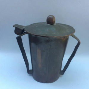 Antique vintage small copper urn with handles and lid