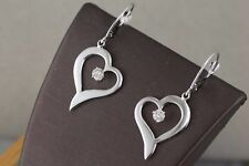 Ladies Heart Diamond Earrings 14kt White Gold
