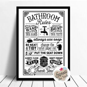 Bathroom Rules Poster Print, Word Art Quotes, Wall Decoration, Frame yourself