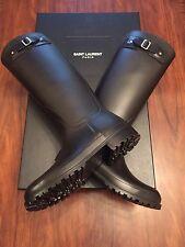 SAINT LAURENT Festival Logo Embossed Rubber Rain Boots Black Size 38 (UK 5)