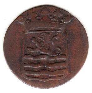 1786 Dutch New York Penny Zeeland Arms 1 Duit Colonial Coin.