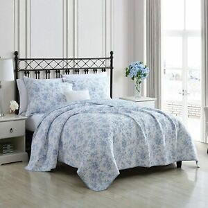 Laura Ashley King Quilt with 2 Shams Walled Garden Blue New in Packaging