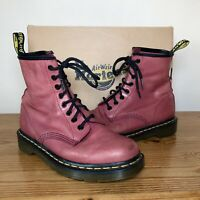 Dr Martens 1460 Mulberry Pink Palatino Leather 8-Eye Boots Size UK 5 EU 38 US 7
