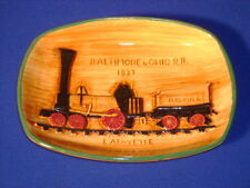 """PENNSBURY POTTERY BALTIMORE AND OHIO RR TRAY 7 3/4"""""""