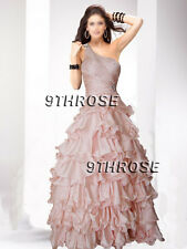 OWN THE STAGE! BEADED ONE SHOULDER FORMAL/EVENING/BALL GOWN; FLESH PINK AU18US16