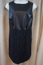 DKNYC Dress Sz 16W Black Chic Business Evening Cocktail Faux Leather Lace dress