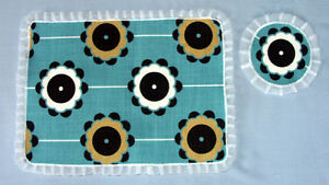 Set of two Hand made Woven Cotton Place Mats & Coasters