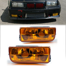 For BMW 92-98 E36 3 Series 2/4D Replacement Fog Lights Crystal Yellow Lens BU
