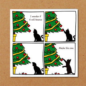 Funny Cat Christmas Card for your Friends or Family - Will it Bounce Tree Bauble