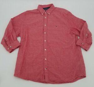 Tommy Hilfiger Button Up Shirt XL Red 3/4 Sleeve Cotton Linen Casual Mens Collar