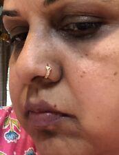 UNIQUE BOHO 22 kt gold nose ring pin HOOP India 18 gauge CRYSTALS-USA SELLER #PX