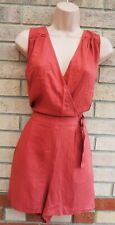 NEW LOOK CORAL V NECK SLEEVELESS WRAP BELTED SIDE CULOTTE PLAYSUIT ROMPER 10 S