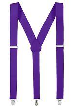 New Purple Suspender Men/Junior Elastic Adjustable Y-Back Clip On – Made in USA