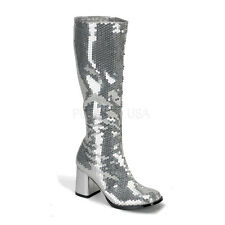 "Bordello 3"" Block Heel Burlesque Silver Sequin Knee High Boots 6 7 8 9 10 11"