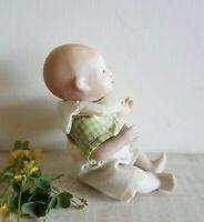 Antique Grace Putnam All Bisque Porcelain Boy Bye Lo Doll Sitting Plaid