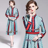 2019 Spring Summer Letters Print Collar Empire Waist Women Casual OL Midi Dress