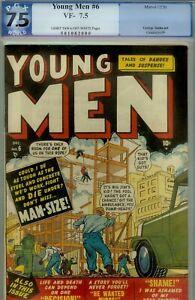 YOUNG MEN #6-PGX 7.5- VERY FINE-1950 YALES-ATLAS-TUSKA ART