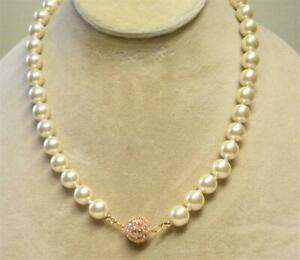 """JOAN RIVERS GEP 10mm CREAM CZECH GLASS PEARL ROSE PAVE CLASP 22"""" NECKLACE NEW"""