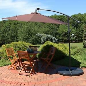 Sunnydaze Brown 10-Foot Offset Solar LED Patio Umbrella - Cantilever and Crank