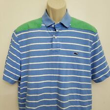 Vineyard Vines Island Stripe Shep Polo Shirt Large Blue White Shoulder Pad