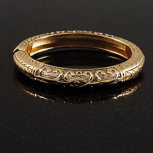 Vintage Inspired Hinged Bangle Bracelet in Gold Tone