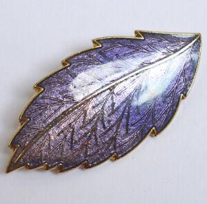 Cloisonne enamel leaf brooch