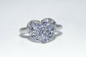 .70CT NATURAL TANZANITE SILVER CLUSTER HEART RING SIZE 7.5