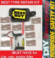 Emergency Car Van Motorcycle Tubeless Tyre Puncture Repair Kit 46 Pieces