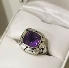 JOHN HARDY Large Amethyst Batu Kali Pebble Ladies Ring Sz 7 Sterling Silver 925