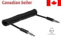 3.5mm to 3.5mm Male to Male Spiral Coiled Audio Aux Wire Cable 4ft - Black