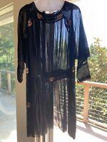 Early 1920's Black Chiffon Beaded Long Sleeve Drop Waist Dress