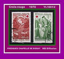1970 - Timbre France/OBL - Croix-Rouge - Chapelle de Dissay - Yt.1661/2 - OB.16