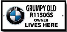 Grincheux old bmw R1150GS moto owner lives here métal signe. moto humour.