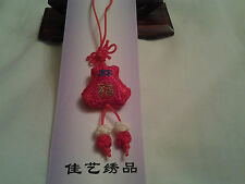 hand-made red calabash shape Chinese knot, charm, pendant with embroidery Luck