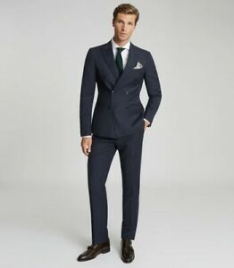 BNWT Reiss 'Villa' Double Breasted Navy Wool Suit 38/30 RRP £430