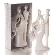 PORCELAINE blanche Élégant Mariée Et Marié figurine wedding cake topper decoration