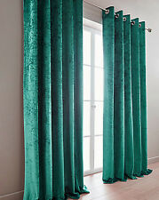 CRUSHED VELVET EFFECT LUXURY RING TOP EYELET LINED PAIR OF CURTAINS FREE POSTAGE