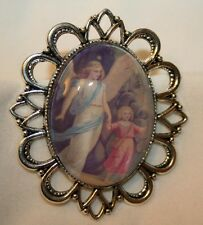 Lovely Scallop Rim Silvertne Guardian Angel Glass Cameo Picture Religious Brooch