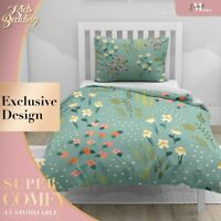 Floral Daisy Kids Patterns Green Quilt Cover Set Single Double Queen King Size