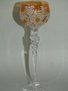 "ONE VINTAGE ROEMER WINE GLASS CRYSTAL ST LOUIS ORANGE 8""1/2 PATTERN FANCY"