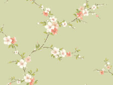 Wallpaper Designer Floral Peach White Tan Red Blossom Trail on Pale Green
