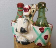 "Vintage Hand Painted Donkey Salt and  Pepper Set Wine Bottles Italy 4"""